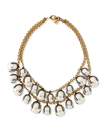 Decade Simulated Pearl Statement Necklace
