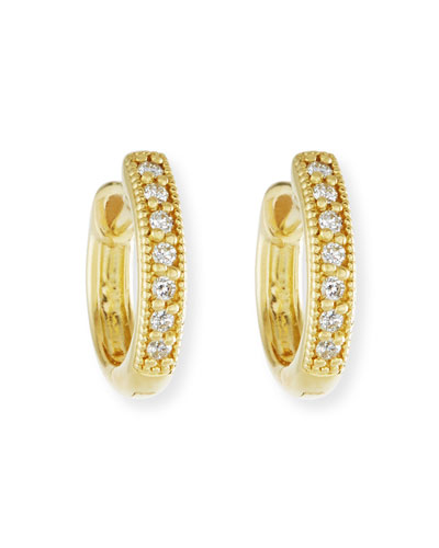 Small 18K Gold Hoop Earrings with Diamonds, 11mm