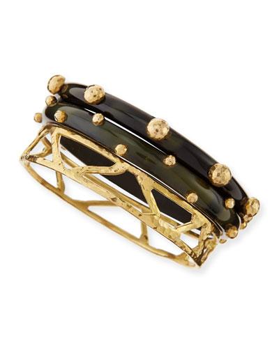 Mwundo Dark Horn & Bronze Bangles, Set of 3