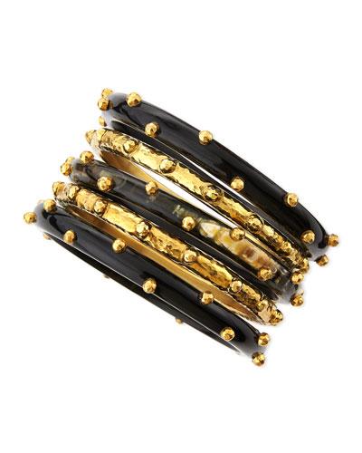 New Set of 5 Shaba Bangles, Dark Horn