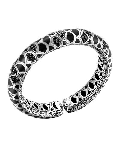 Naga Silver Lava & Enamel Slim Flex Cuff with Black Enamel and ...