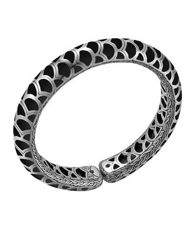 Naga Silver Enamel Flex Cuff with Black Enamel, Slim 12mm, Size M ...