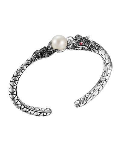 Naga Silver Lava Small Cuff with Pearl & Black Sapphire