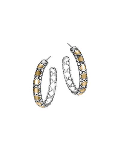 Naga Gold & Silver Medium Hoop Earrings