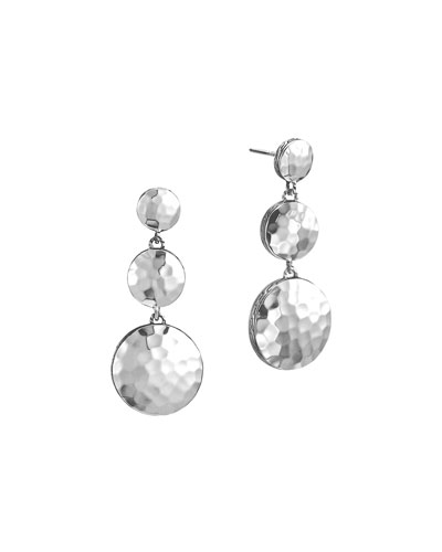 Palu Silver Triple Drop Linear Earrings