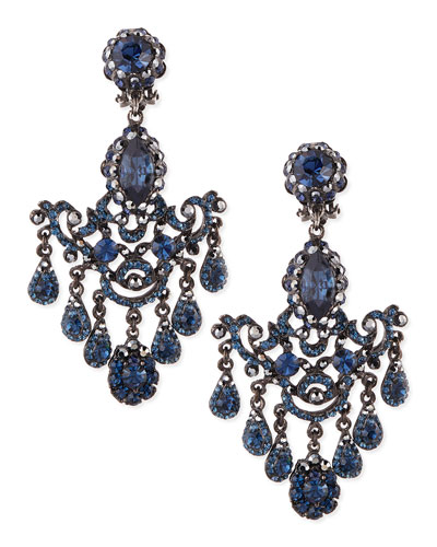 Gunmetal & Blue Crystal Chandelier Clip-On Earrings