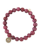 8mm Natural Ruby Beaded Bracelet with 14k Gold/Diamond Round Evil Eye Charm (Made to Order)