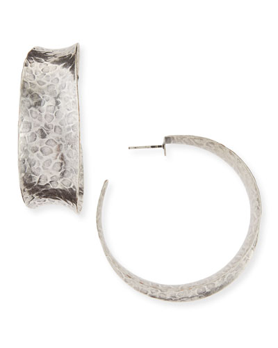 Hammered Oxidized Silver Graduated Hoop Earring