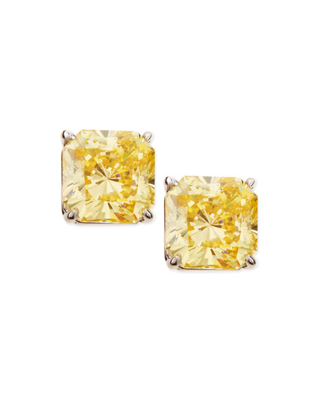 Fantasia by DeSerio 5.0 TCW Canary Cubic Zirconia Stud Earrings