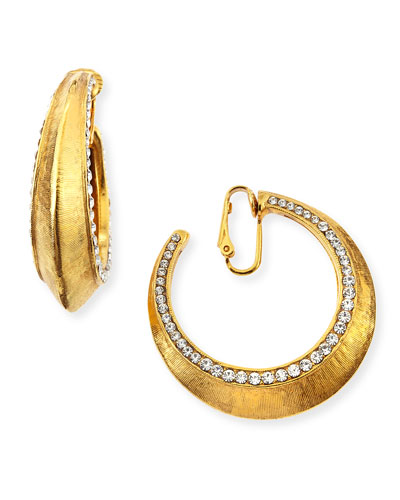 Gold-Plated Clip-On Hoop Earrings with Crystals