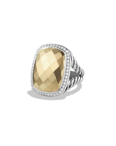 Albion Ring with Diamonds and Gold, Size 7