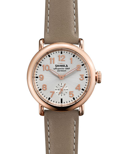 The Runwell Rose Golden Watch with Tan Leather Strap, 36mm