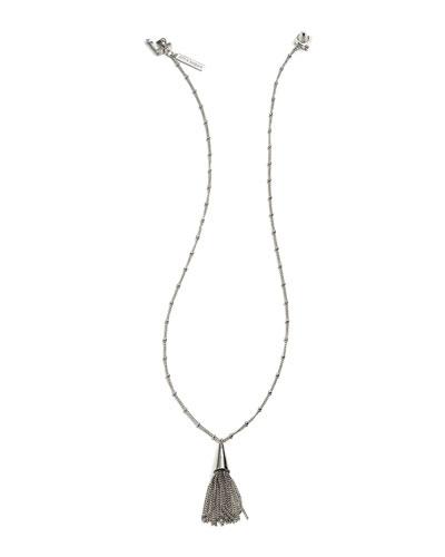 Small Silvertone Chain Tassel Pendant Necklace