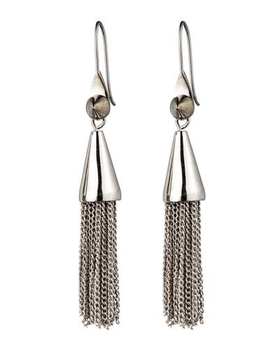 Small Silvertone Chain Tassel Drop Earrings