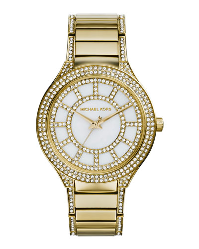 Mid-Size Golden Stainless Steel Kerry Three-Hand Glitz Watch