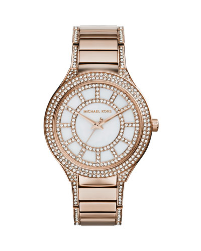 Mid-Size Rose Golden Stainless Steel Kerry Three-Hand Glitz Watch