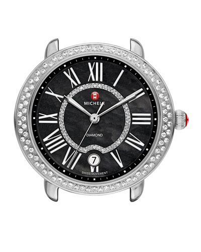 Serein 16mm Diamond Stainless Watch Head, Black