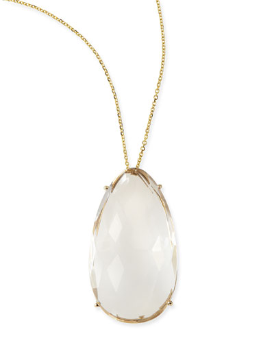 Pear White Quartz Pendant Necklace