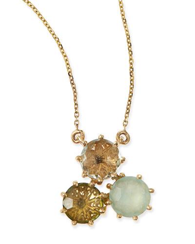Multi-Stone Green Cluster Pendant Necklace