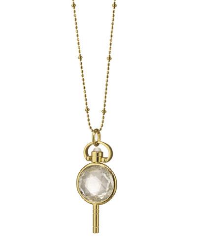 18k Gold Mini Round Rock Crystal Pocketwatch Key Necklace