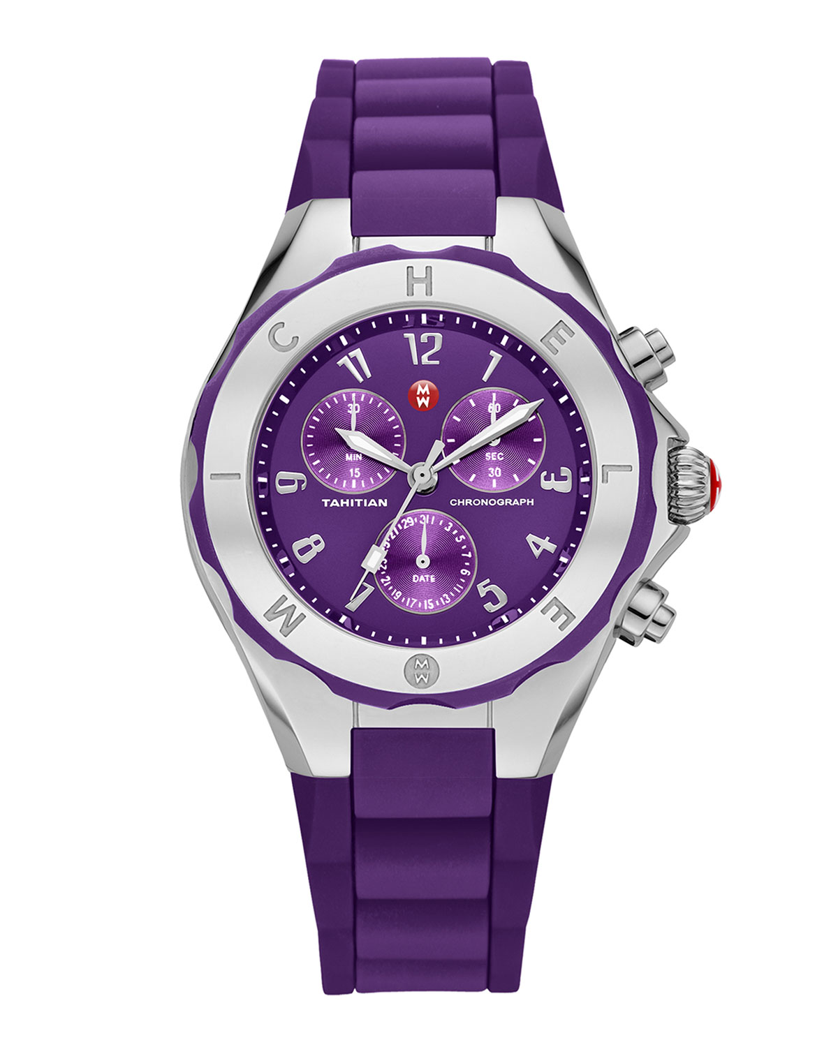 Gold Tahitian Large Jelly Bean Watch, Purple/Stainless Steel