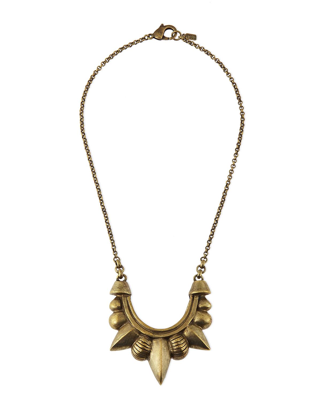 Bronze Medium Tribal Spike Pendant Necklace