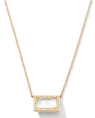 18k Gold Gelato Medium Baguette Mother-of-Pearl Necklace with Diamonds