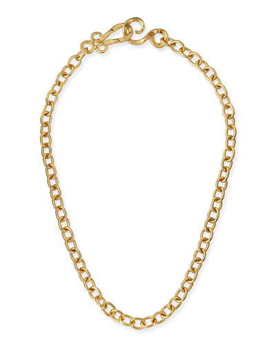 24k Yellow Gold Plated Tudor Chain Necklace, 18