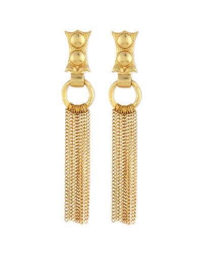 24k Gold-Dipped Caesar Chain Fringe Earrings
