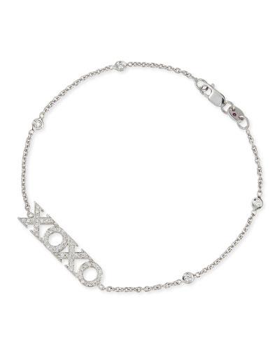18k White Gold Diamond XOXO Charm Bracelet