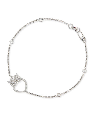 18k White Gold Diamond Owl Charm Bracelet