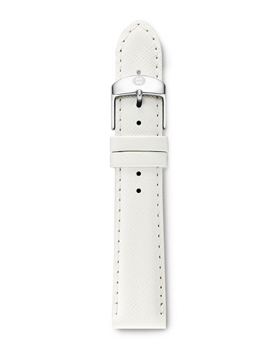 18mm Leather Watch Strap, Bright White