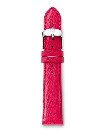 18mm Leather Watch Strap, Bright Pink