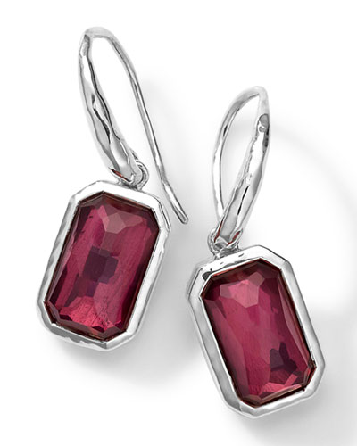 Sterling Silver Wonderland Rectangular Drop Earrings in Lipstick Pyrite ...