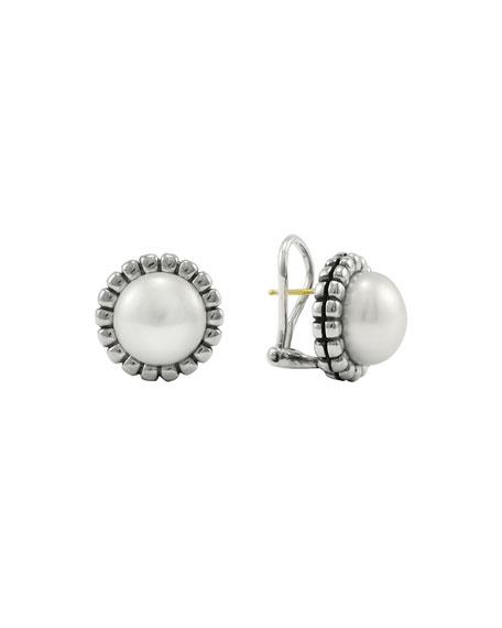 Lagos Fluted Pearl Stud Earrings, 12mm