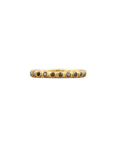 Slim Eternity Black Diamond Gold Band Ring