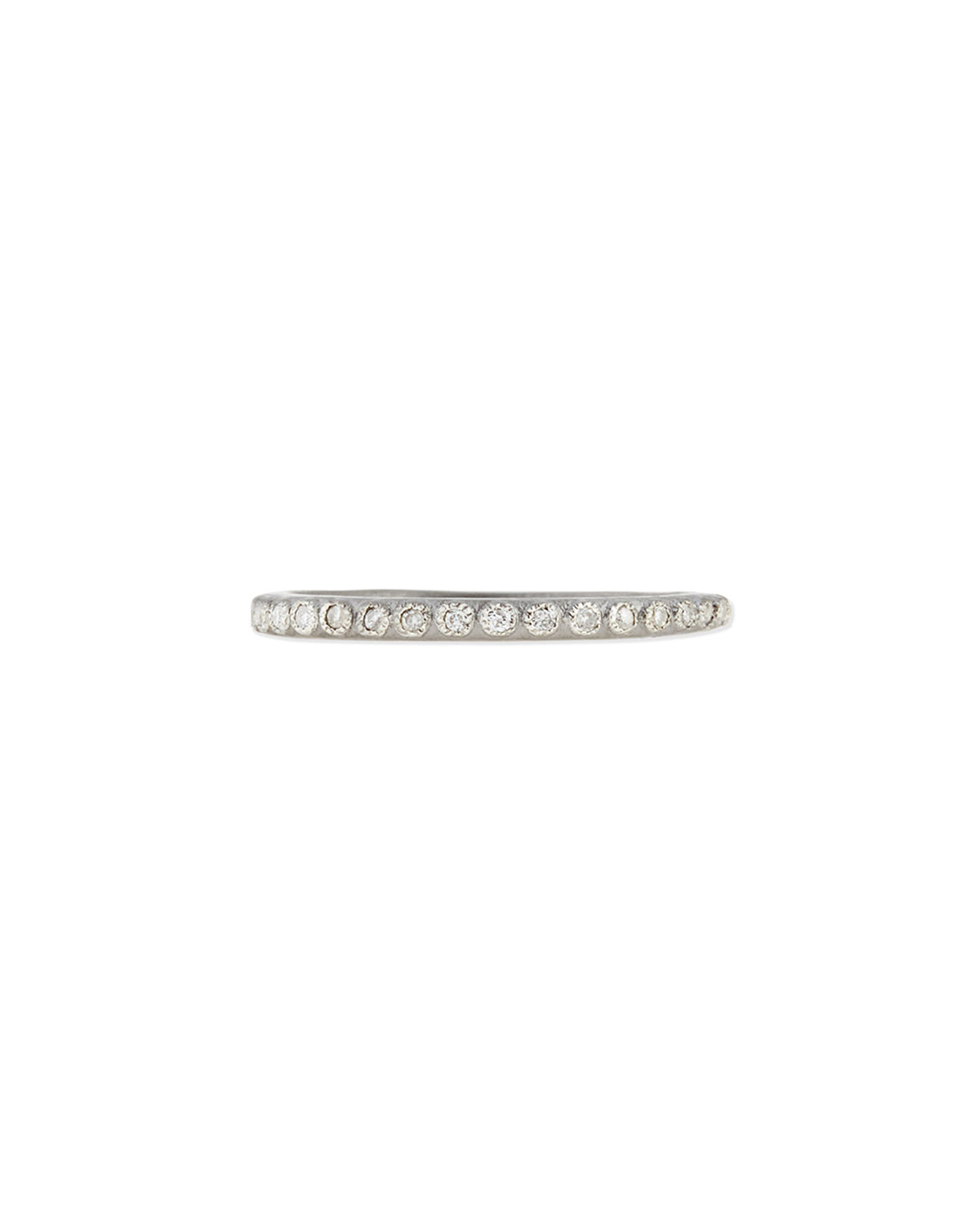 Pave Diamond Silver Stackable Ring