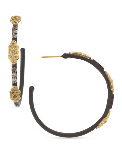 Armenta Small Midnight Hoop Earrings with Gold & Diamond Crivelli Crosses sv8s53zye
