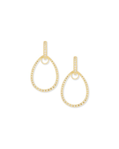 Classic Yellow Gold Pave Diamond Teardrop Earring Charm Frames