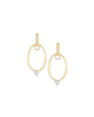 Yellow Gold Provence Oval Earring Charm Frames