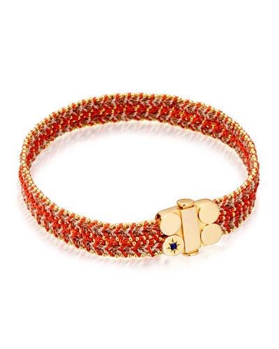 Wide Cajun Shrimp Cosmos Stones Bracelet, Red