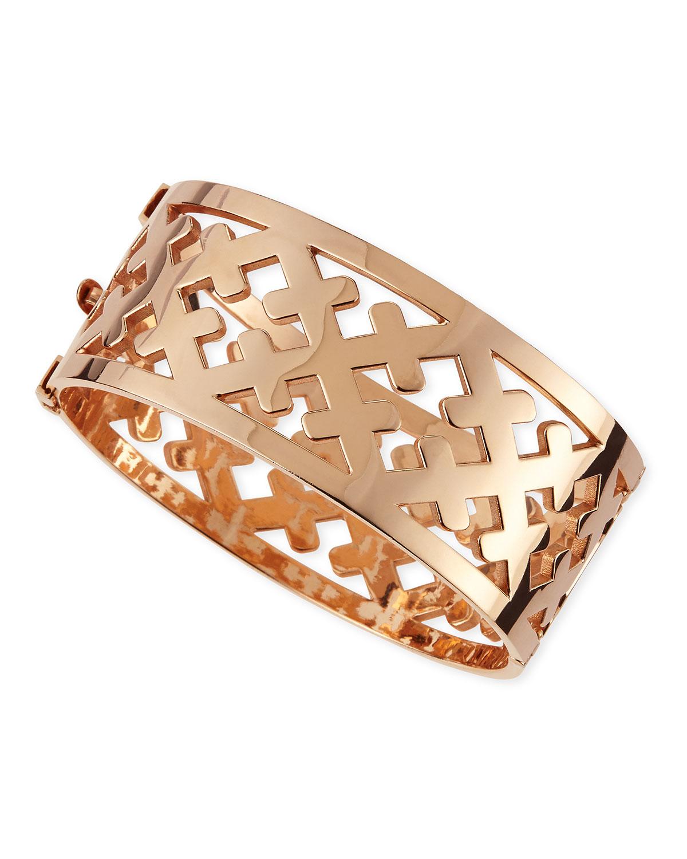 Rose Gold Crosses Cuff Bracelet