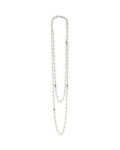 3-4mm Pearl Necklace with Fluted Silver, 36