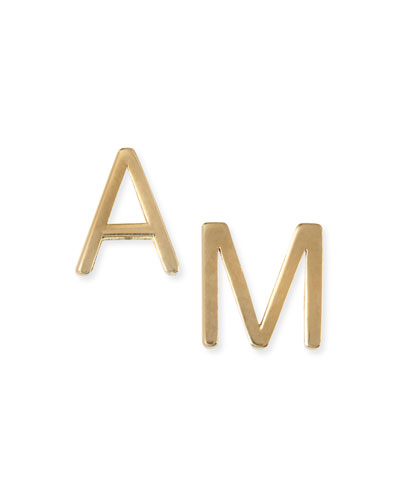 Yellow Gold Mini Initial Earring, Right