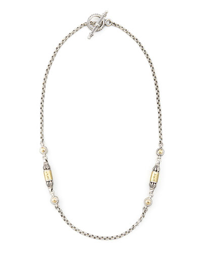Gold Bullet-Station Necklace, 18