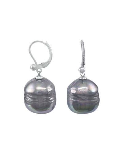 Baroque Pearl Drop Earrings, Gray