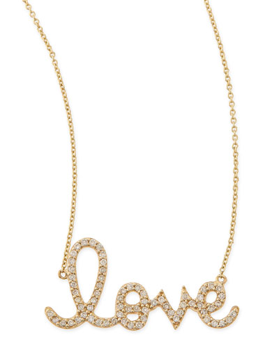 Large 14k Yellow Gold & Diamond Love Necklace