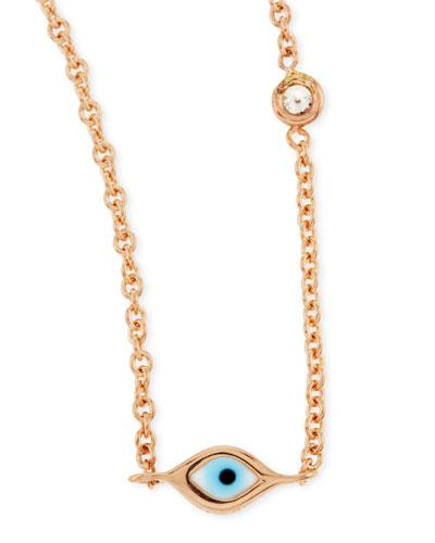 14k Rose Gold Evil Eye Necklace with Single Diamond