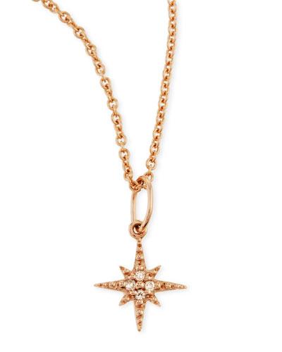 14k Rose Gold Starburst Charm Necklace