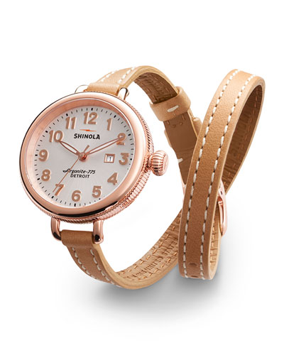34mm Birdy Rose Golden Double-Wrap Watch, Tan